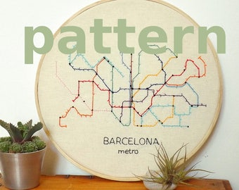 Barcelona metro map modern hand embroidery pattern - instant digital download PDF in english and spanish - modern embroidery