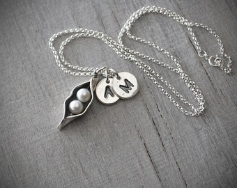 Two Personalized Initials Two Pea Pod Necklace - Silver Pea Pod Mother's Necklace - Mom's Pearl Peas in a Pod - Two Peas, Push Gift