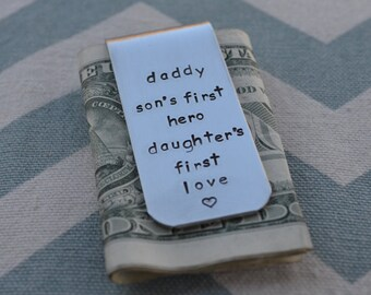 Personalized Hand Stamped Money Clip - Fathers Day - Grandparents Day - Dad - Husband - Boyfriend