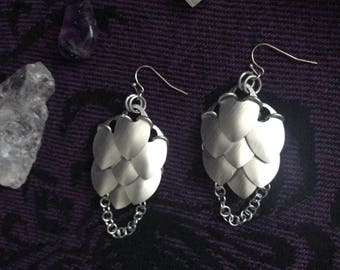 Scale Maille Shield-Maiden Earrings/ Medium Scale/ Dangle/ Brushed Aluminum