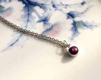 Berry Rose Bud Star Ruby Necklace