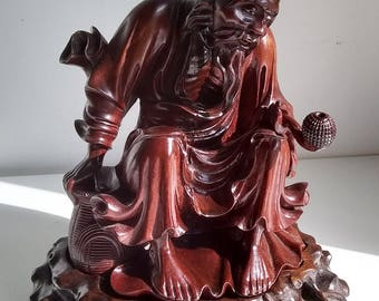 Fine Vintage Asian Carved Smoking Fisherman Sculpture Scholars Statue