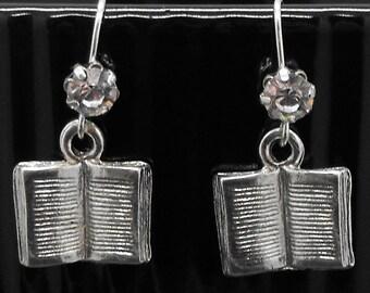 Book Earrings Rhinestone Dangle Bookish Bibliophile Literary Jewelry