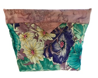 Floral Accessory Cosmetic Quilted Bag in colors of Purple and Teal, Quilted Small Purse, Gift for Under 20, Gift for Her, Quiltsy Handmade