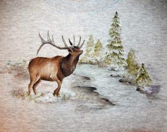 Elk by a Stream, hand-painted on gray Sweatshirt
