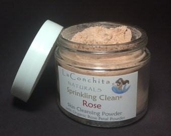Organic Rose Mild Face Wash, Cleanser & Scrub, All Natural Exfoliating Botanical Cleansing Grains,  Non-Foaming in 2oz Glass Jar - On Sale!