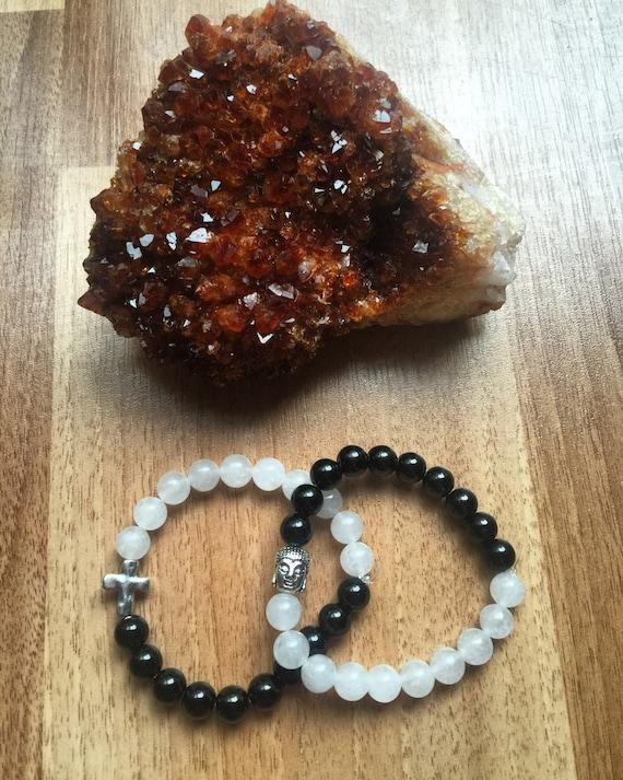 Quartz and Obsidian Stretch Bracelet with Charm customizable