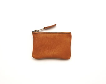 Coin Purse Leather / Tan Ethical / Mini Wallet / Recycled Leather