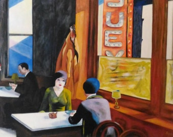 Art reproduction - Chop Suey by Hopper - oil on canvas - oil paintings