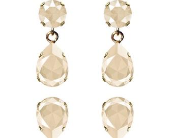 Swarovski Crystal Ivory Cream Beige Mini Lily Earrings Gold Plated Womens Girls SS39 Chaton 14x10mm Drop