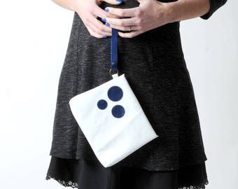 """White leather clutch, handheld leather pouch, White purse bag with blue leather circles, leather wristlet MALAM, 8x7"""" - 20x17cm"""