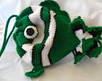 Green Drawstring Fish Purse - Green Drawstring Fish Bag - Green Drawstring Fish Tote - Green Drawstring Fish Pouch - Green Clownfish Purse