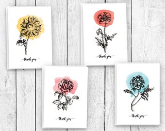 Botanical Watercolors Flower Thank You Note - 24 Cards & Envelopes
