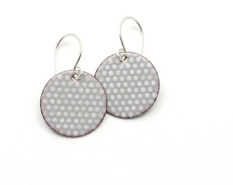 Gray Enamel Earrings - Light Gray Dangle Earrings - Round Polka Dot Earrings - Modern Enamel Jewelry