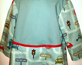 Child's Long Sleeve Art Smock - Cars - Transportation - Blue - Size Small or Medium