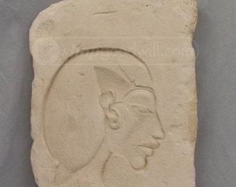 "Akhenaten From Amarneh XVIII Dynasty - Metropolitan Museum of Art Limestone Reproduction of ""Trial Piece With Relief of Head of Akhenaten"""
