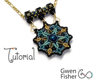 TUTORIAL Wisdom Mandala Two-Sided Pendant Beaded with Seed Beads