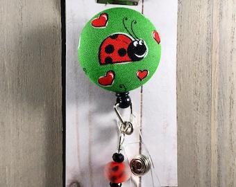 LADYBUG Retractable Badge Reel with Custom Beading