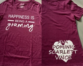 Personalized Happiness is Being a Grammy T-Shirt Grandma Shirt Custom Mothers Day Gift