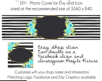 Etsy Cover Photo - Add your own Text, Instant Download, Georgia Blooms, New Cover Photo Etsy, Made to Match Graphics, Teal Etsy Banner, DIY