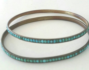 RARE Victorian turquoise bangles | matching set