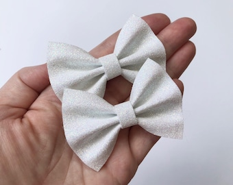 White Iridescent Glitter Felt Pigtail Hair Bow Set // Spring Easter Piggie Bows Hair Clips // Pigtail Bows Mini Bows Baby Toddler Bow Set