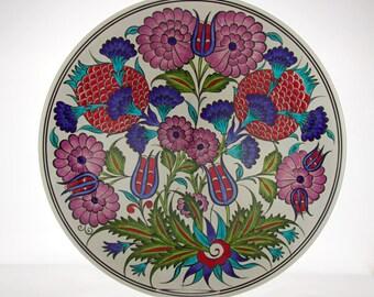 """Handmade Handpainted Turkish Ottoman Ceramic Plate 12"""" Diameter Iznik Design"""