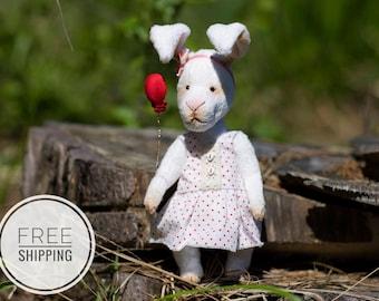 Artist bunny rabbit White bunny White rabbit Teddy bunny Teddy rabbit Gift for woman White toy Plush bunny rabbit Bunny in a dress OOAK