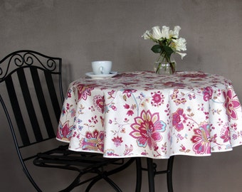 Wonderful Indoor   Outdoor 42 To 60 Inches Round Tablecloth Flowers In Fushia   Or  Custom Made