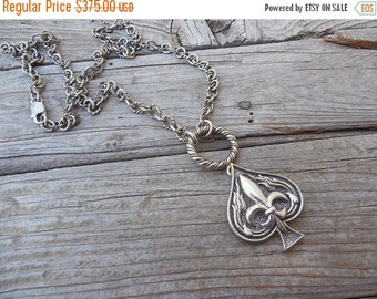ON SALE Ace of spades necklace with a fleur de lis handmade in sterling silver 925