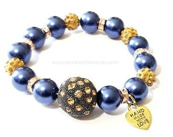 Blue Rose Gold Gold Beaded Bracelet, Stretchy Custom Handmade Beaded Jewelry