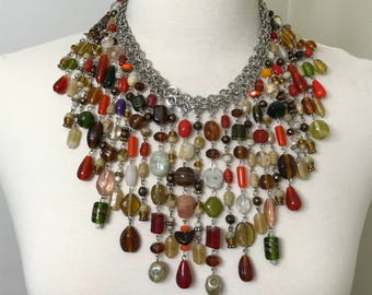 Gorgeous Vintage Murano Glass Bib Necklace