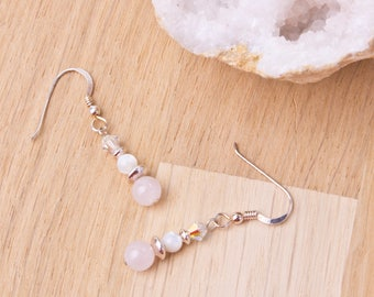 Rose quartz earrings - Pink rose quartz gemstone, mother of pearl and Swarovski crystal bead sterling silver dangle earrings