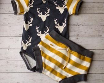 Baby Boy, Baby Boy Clothing, Boys Summer Clothing, Newborn Boy Clothes, Woodland Navy and Mustard Shorts Set, Baby Boy Clothes, Infant Boy