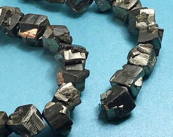 Iron Pyrites organic shaped crystalline beads