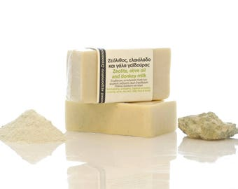 Natural handmade soap with zeolite, donkey milk and olive oil from Samothrace Greece