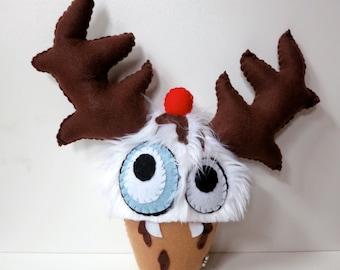 Medium Whiite Cupcake Monster - Hand-stitched plush cupcake toy