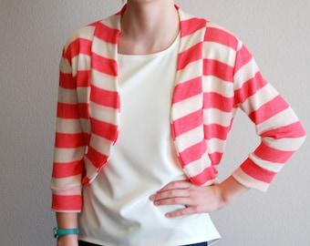 Coral and Ivory Stripe Bolero Cardigan