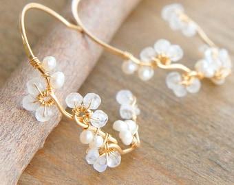 White Moonstone and Pearl Earrings, Wedding Vine Jewelry, June Birthstone Earrings, Nature Inspired Bridal Jewelry