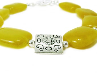 Sunshine - Yellow Agate Stone And Pewter Beaded Chunky Bracelet