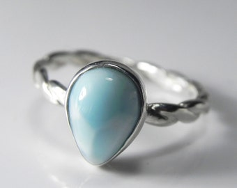 Larimar Ring Sterling Silver - Larimar Stackable Ring - Stacking Ring - Unique Larimar Jewelry - Sky Blue, Aqua Blue, Ocean Inspired