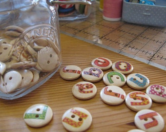 Alphabet 15mm Wooden Buttons, 15mm Buttons, Two Hole Wooden Buttons, Alphabet Buttons