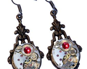 Steampunk Earrings - Ruby red swarovski crystal