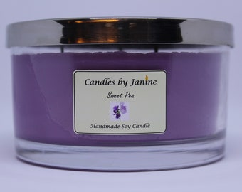 Triple wicked Sweat Pea candle