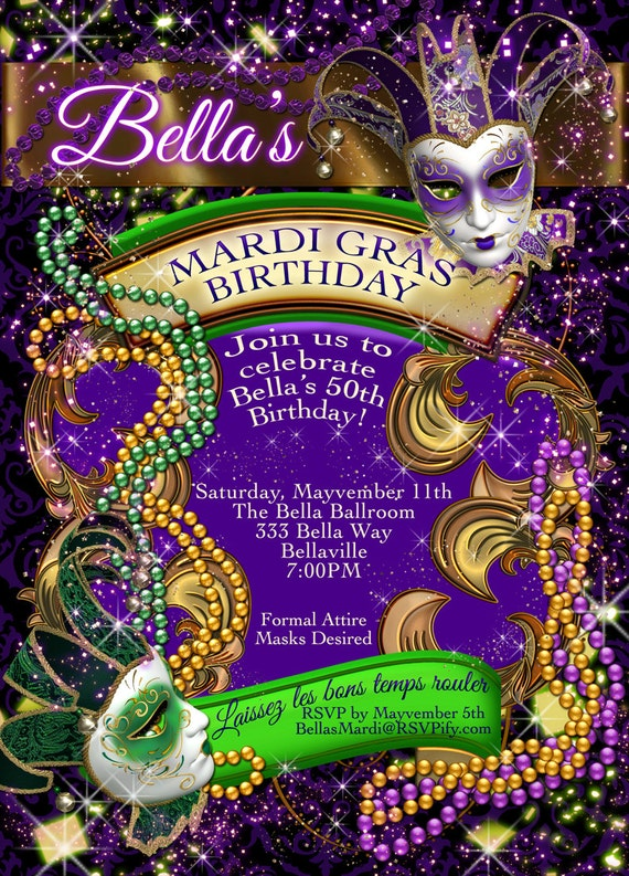 Mardi Gras Party Party Invitations Masquerade Invitations