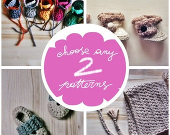 Crochet Patterns DEAL / PACK - Pick any 2 PDF crochet patterns -  low price