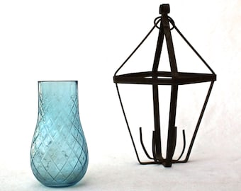 Antique Hanging Blue Glass rusty Metal Candle Holder Iron Hanging Lantern Architectural Shabby Vase Farmhouse Rustic Garden blue black white