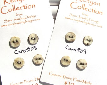 Handmade Kenyan Batiked Bone Buttons Card of Four Rounds