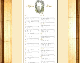 Shabby Chic Digital Seating Chart, Floral, Picket Fence, Arch, Table Assignment, Wedding, Choose - Sm, Md, or Lg for approx. 130-300 guests