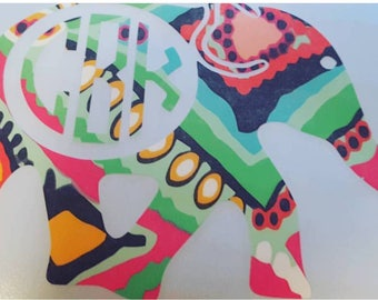 Lilly Pulitzer, Elephant, Vinyl Decal, Monogram Decal